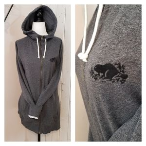 ROOTS | LONG ZIPPERED HOODIE GREY M
